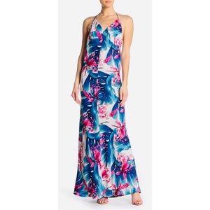 Meghan LA Reversible Print Turquoise Maxi Dress
